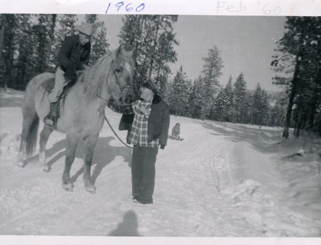 COSTELLO, John & Dan, Feb 1960 with horse