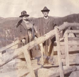 Emma Jerain Maffit and John B. Jerrain on bridge