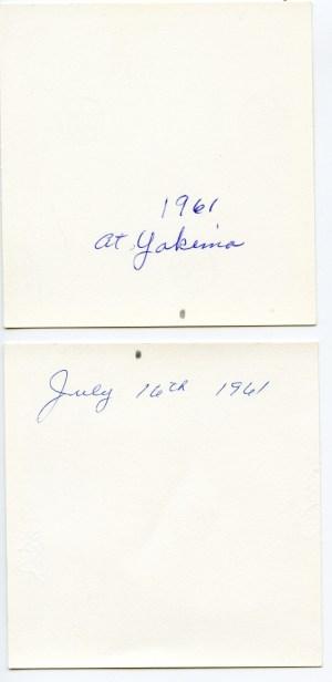 COSTELLO, Mary, Barbara, Dan, & John, 1961 in Yakima - photobacks