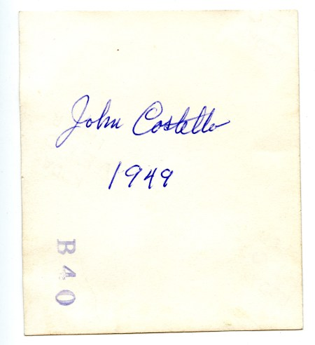 COSTELLO, John, by truck, 1949 - photo back
