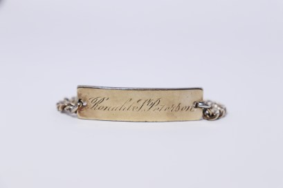 PETERSON, Ronald Skeen, ID bracelet from Margaret Ellis, front