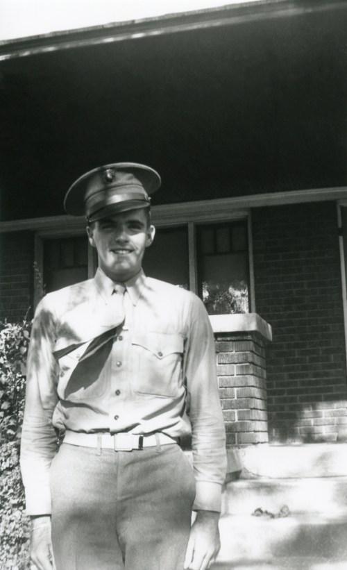 PETERSON, Ronald Skeen in Marine uniform on leave in Utah