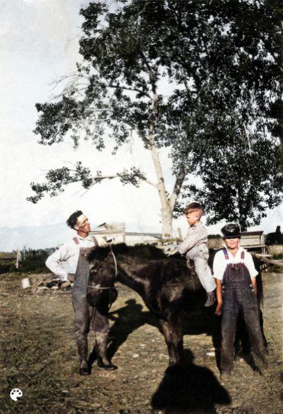 Joseph Skeen, Ronald Skeen Peterson on horse, Evan Folkman Skeen, Colorized