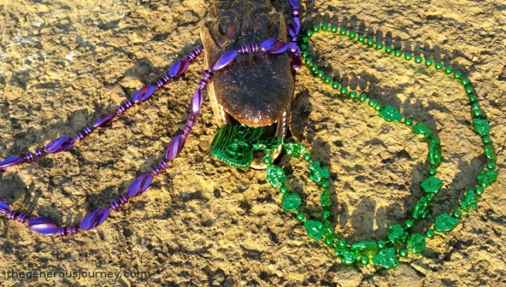 Al E. Gator with Mardi Gras beads © Paul H. Byerly
