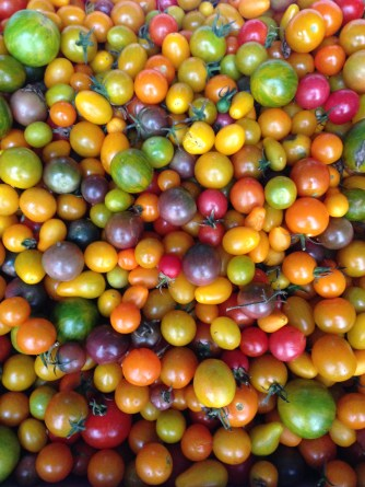 UNION SQUARE GREEN MARKET, NYC - Local mini heirloom tomatoes this morning.