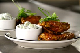 Chile Chicken Wings with creamy cucumbers.