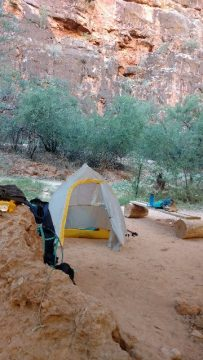 Tent at campsite in canyon