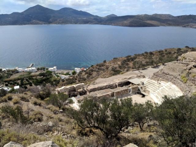 Ancient ruins overlooking Agean Sea in Milos, Greece.