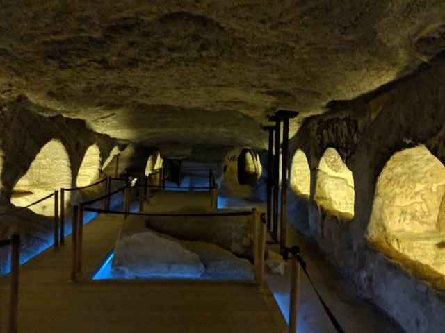 Catacombs in Milos Greece
