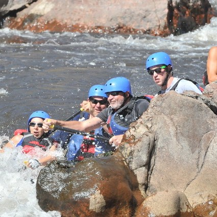 White water rafting in Colorado during a road trip
