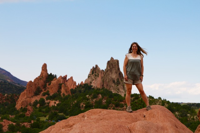 Girl stand-in on rock during a Colorado road trIp.