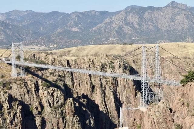 Expansion bridge over canyon seen on a Colorado road trip.