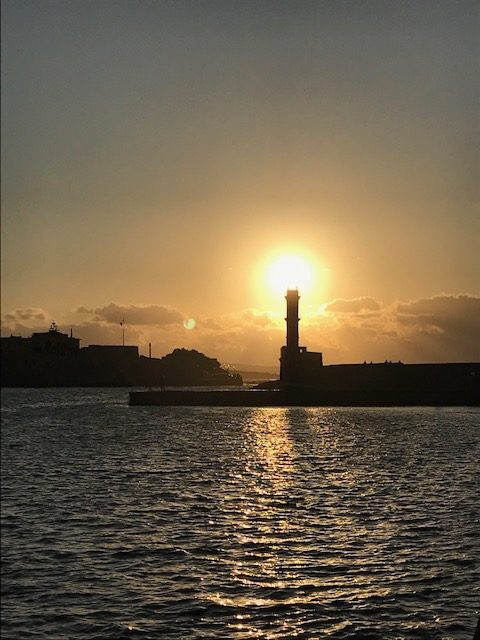 Chania lighthouse on harbor