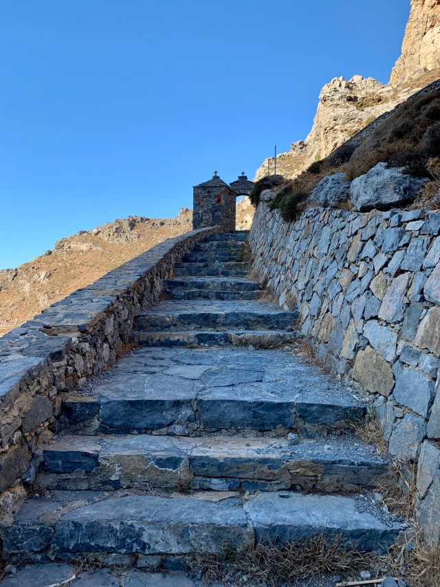 Steps up Kourtaliotiko gorge Crete Greece