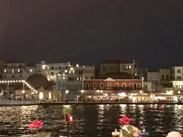 Chania harbor at night