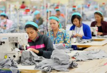 Cambodian garment workers working