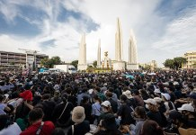 Pro-democracy protest in Democracy Monument in Thailand