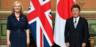 Liz Truss, the UK's secretary of state for international trade, meets with Japanese Foreign Minister Toshimitsu Motegi
