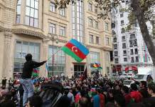 Celebrations in Baku in response to the Nagorno-Karabakh peace deal