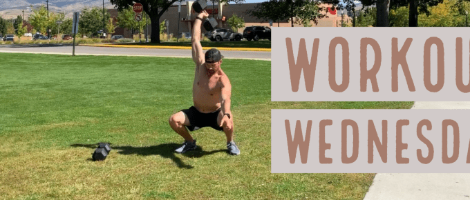 Workout Wednesday - Stretch Out & Jump website by Joe Bauer doing an overhead squat