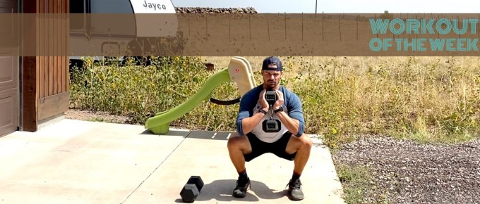 Workout of the Week Full Circle by Joe Bauer doing goblet squats in the driveway