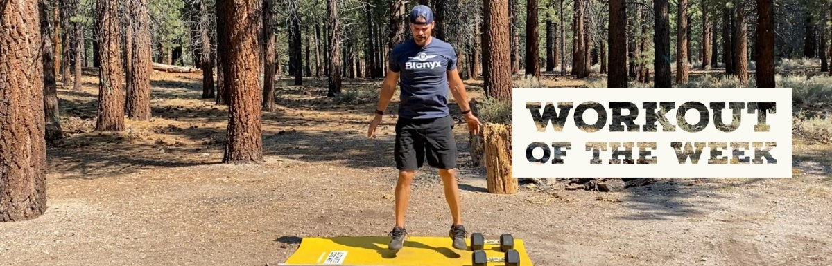 Workout of the Week - Legs on FIRE by Joe Bauer doing squat jumps at the campsite