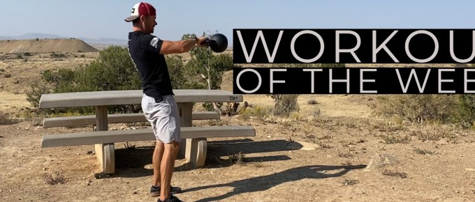 Workout of the Week - Bells Up by Joe Bauer doing kettlebell swings at Trail 18.