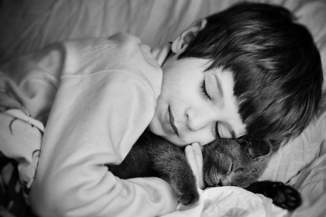 kedisiyle uyuyan çocuk