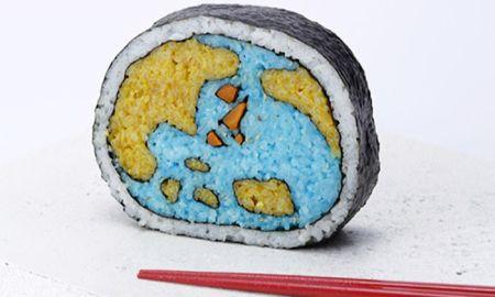 dünya şeklinde sushi