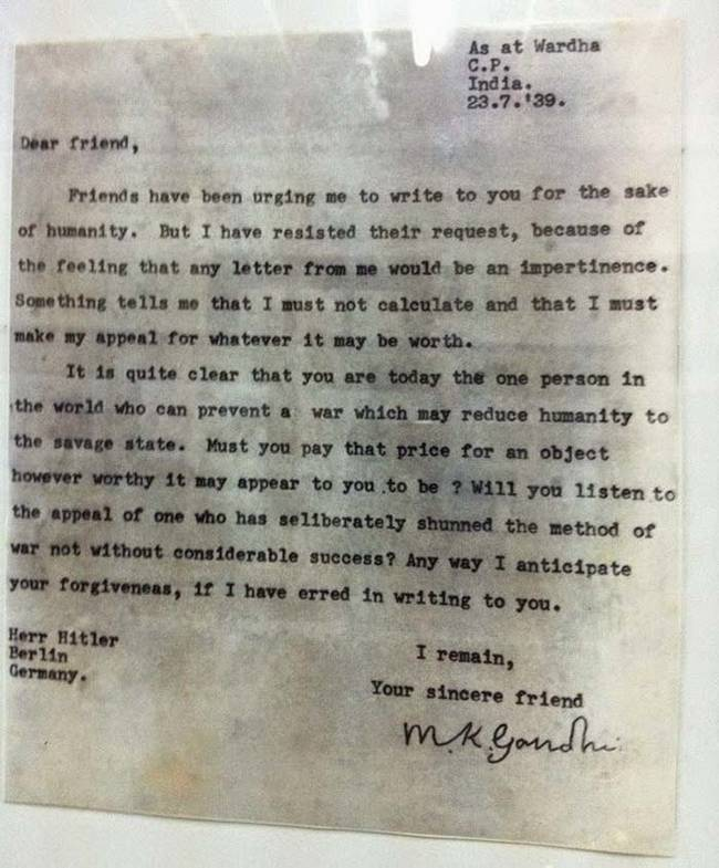 Gandhinin Hitlere mektubu