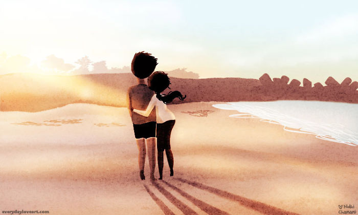 Illustration of couple walking along the beach