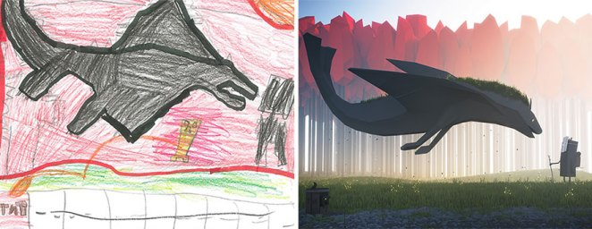 çocukların çizimlerini yeniden çizenler