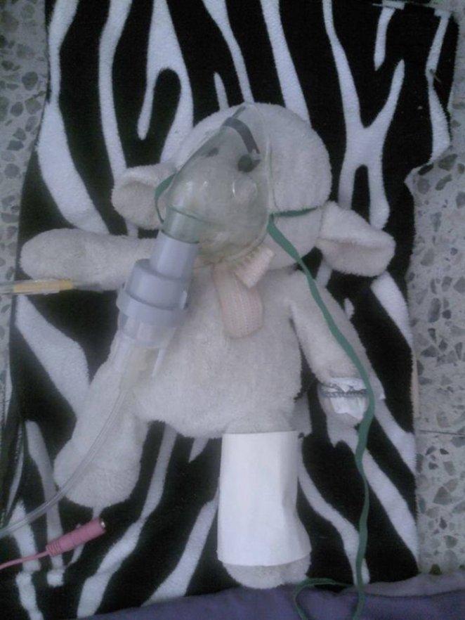 Kazada yaralanan oyuncağı tedavi eden kız