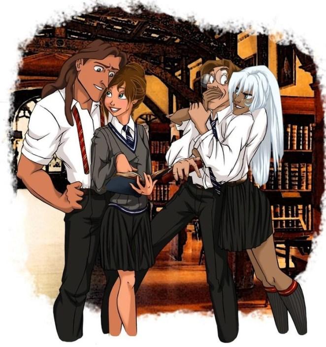 Tarzan, Jane, Milo, and Kida.
