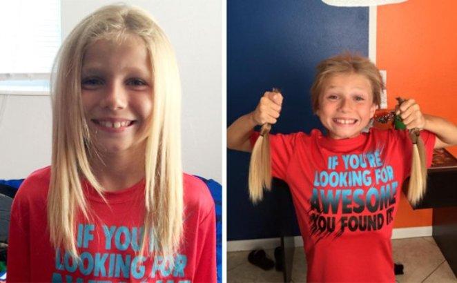 saçlarını iki yıl uzatıp yardım parası için kestiren çocuk