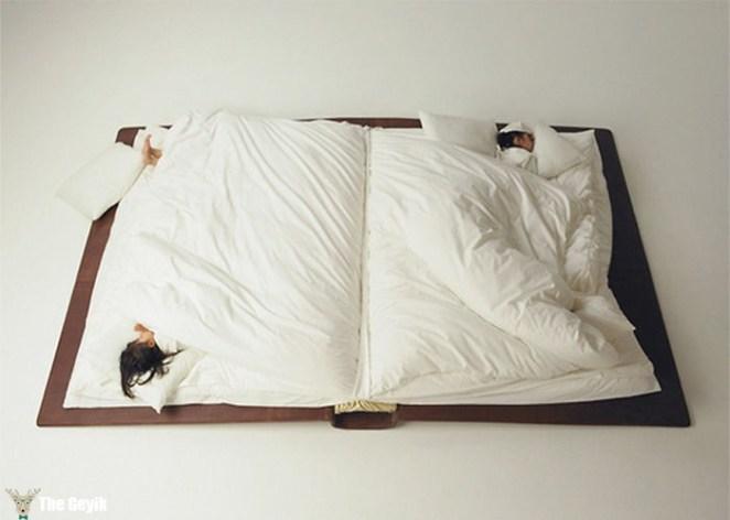 kitap şeklinde yatak