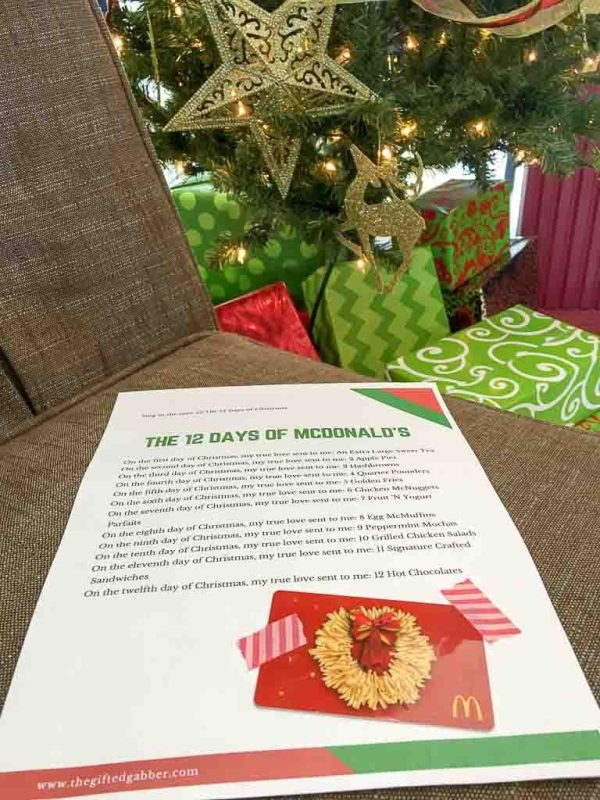 The 12 Days Of Mcdonald S Printable For Gift Cards