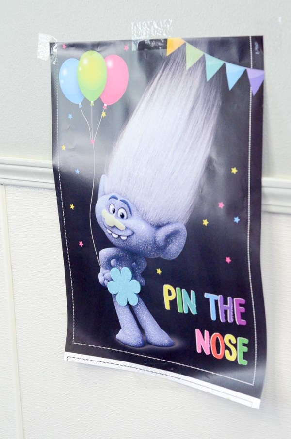 Pin the Nose game for a Trolls birthday party - The Gifted Gabber