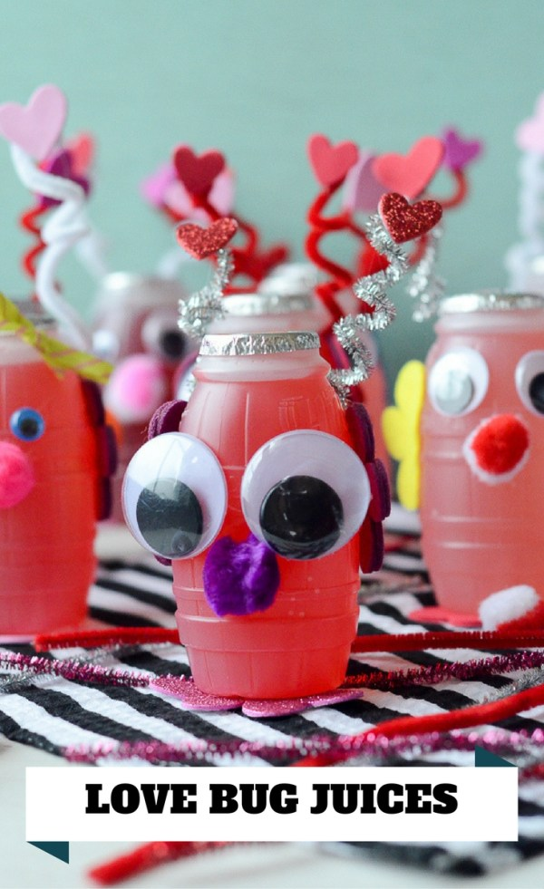 Love Bug Juice Boxes for Valentine's Day - #ValentinesDayCrafts #ValentinesIdeasforKids #ValentinesDayParty #juicebox - The Gifted Gabber #preschoolValentinesparties #kidsValentinesparties