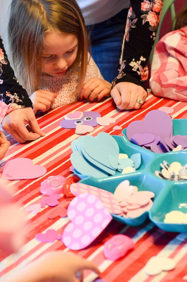 little girls crafting for a Galentine's Party for little girls - The Gifted Gabber