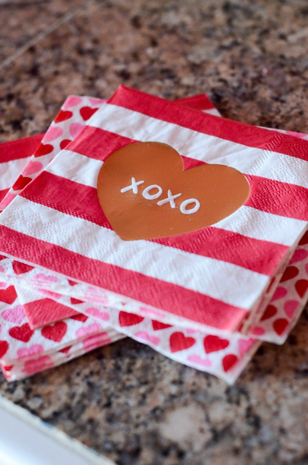 Valentine napkins for a Galentine's Party for little girls