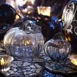 Halloween Decor: Gray Smoke Glass Pumpkins