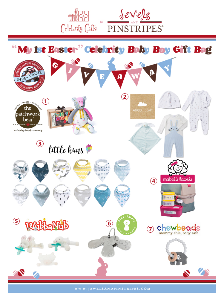 Giveaway win a my first easter celebrity baby boy gift bag valued just in time for easter enter to win a jewels and pinstripes my first easter celebrity baby gift bag giveaway valued at over 425 this baby boy themed negle Images