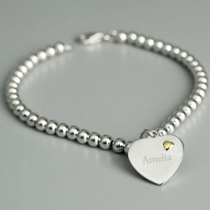 Personalised Sterling Silver and 9ct Gold Heart Bracelet