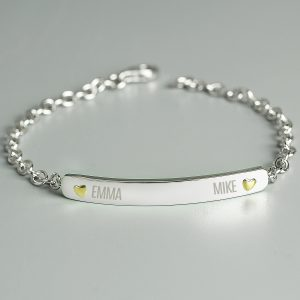 Personalised Two Names Sterling Silver and 9ct Gold Bar Bracelet