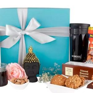 Borosil Flask, Davidoff and Cookies Hamper