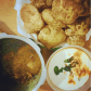 Aloo ki sabzi with Poori and Vegetable Raita