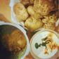 Aloo ki sabzi with Poori and Vegetable Raita