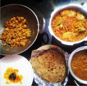 Paneer bhurji, Egg & Chicken Biryani, Rajma, Vegetable raita & Parantha