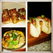 Pork/ Lamb Patty Bao with khimchi salad., Pork Belly  and Chao -  soupy noodles with semi boiled egg, bacon, pork belly, garlic, corn and scallops @ Fatty Bao, Bangalore